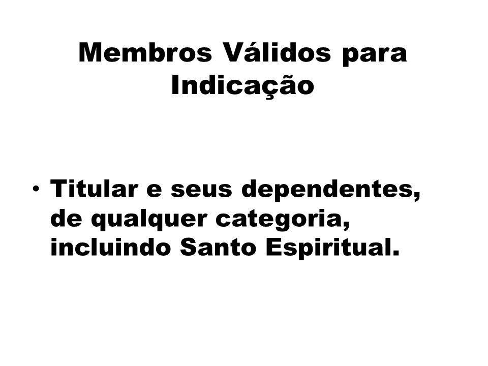 Membros Válidos para Indicação Titular e seus dependentes, de qualquer categoria, incluindo Santo Espiritual.