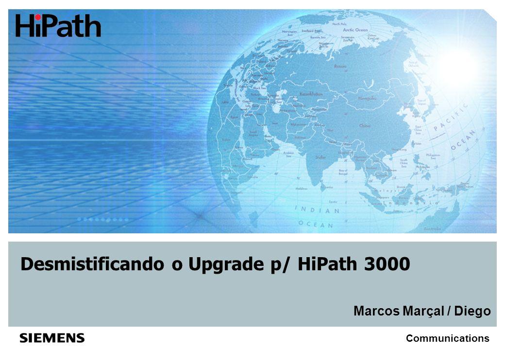 © Siemens AG, October 2004 Communications Resumo Objetivo Esclarecer o processo de upgrade de plataformas antigas (descontinuados) que possibilitam o reaproveitamento de módulos periféricos e/ou centrais para uso em propostas do HiPath 3000 v5.0 Premissas Estabelecer uma linha de corte para que haja o reaproveitamento de módulos periféricos na nova plataforma do HiPat 3000 v5.0