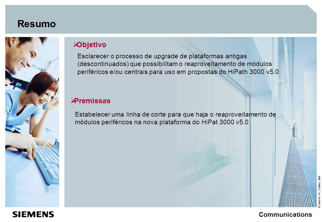 © Siemens AG, October 2004 Communications Visão Geral das versões de hardware Rel.1.0 Rel.2.2 HiPath 3000 V1.2 até V4.0 Rel.3.0 / V1.0 Point / HiPath 33XX Com / HiPath 35xx Pro / HiPath 37xx V5.0 CBFC CBPC Novo bastidor V24/E (LAN) CBCC CMI no UP0E PSU-P ou UPSCD HiPath 3300 com o variante de 19 Novo CBCC com EVM Bastidor sem posição De plugagem para SLC16 CBFC e EXTEB CBPC Novo bastidor com posição de plugagem para SLC16, SLA ou SLMO V24/E (LAN) CBCC CMI no UP0E PSU-P ou UPSCD HiPath 3300 com o variante de 19 Novo CBCC com EVM Caixas de 7 slots CBMOD – X100 UPSM em lugar da PSUI (não em combinação) CBMOD – X200 Com-Server (LAN) CBCPR Multi-SLC Caixa de 8 Slots HiPath 3700 com o variante de 19 Novo HW HiPath 3800 Novo HW, Ap3700 HiPath 4000 V2.0