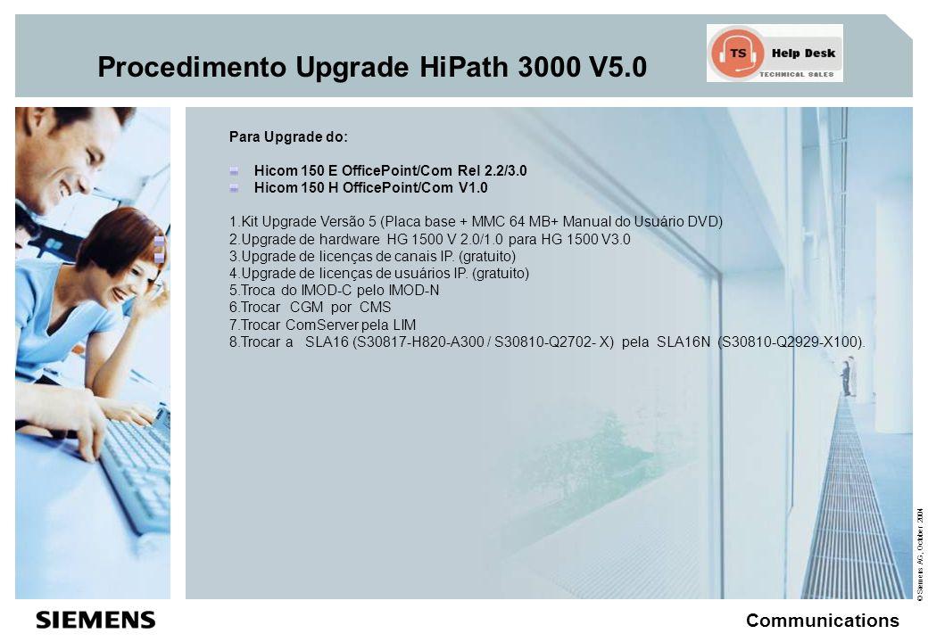 © Siemens AG, October 2004 Communications Procedimento Upgrade HiPath 3000 V5.0 Para Upgrade do: Hipath 3350/3550 versão V1.2/3.0/4.0 1.Kit Upgrade Versão 5 (Placa base + MMC 64 MB+ Manual do Usuário DVD) 2.Upgrade de hardware HG 1500 V 2.0/1.0 para HG 1500 V3.0 3.Upgrade de licenças de canais IP.