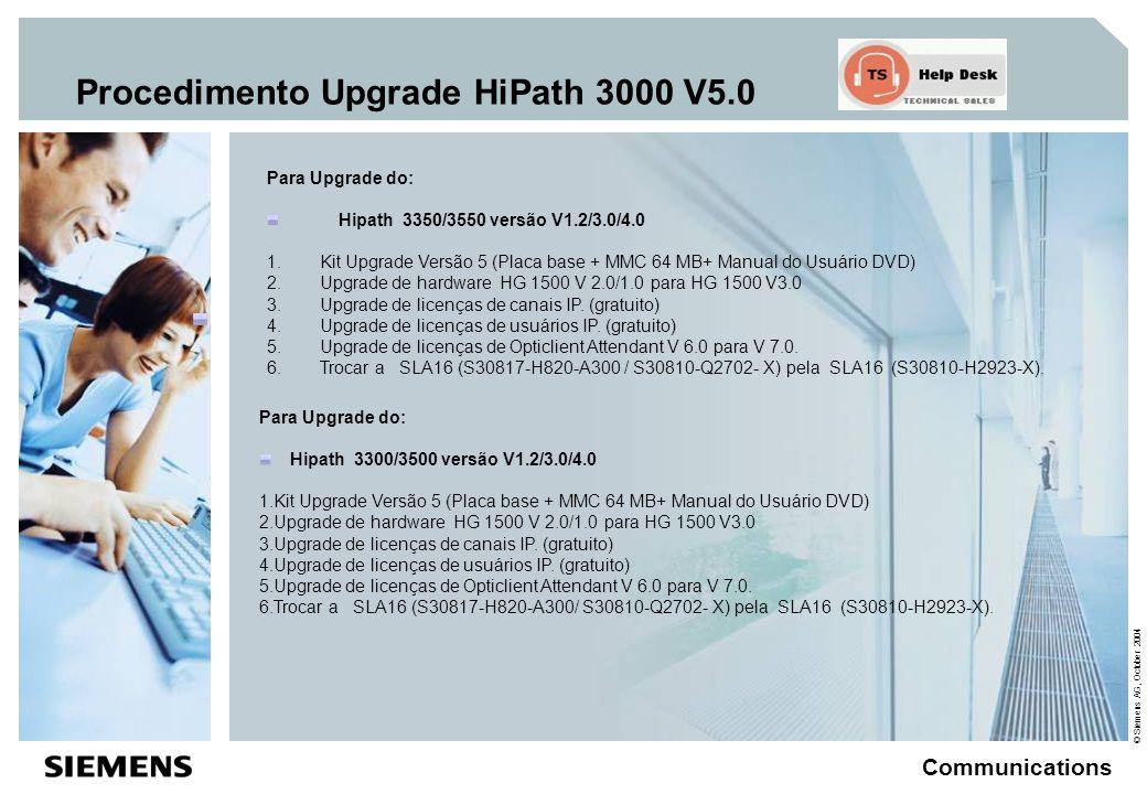 © Siemens AG, October 2004 Communications Procedimento Upgrade HiPath 3000 V5.0 Para Upgrade do : Hicom 150 E OfficePro Hicom 150 H OfficePro 1.Kit Upgrade Versão 5 (Placa base + MMC 64 MB+ Manual do Usuário DVD) 2.Upgrade de hardware HG 1500 V 2.0/1.0 para HG 1500 V 3.0 3.Upgrade de licenças de canais IP.