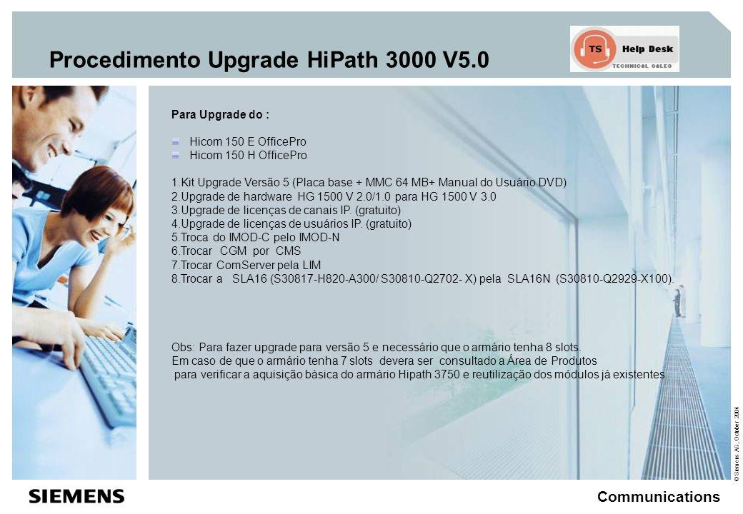 © Siemens AG, October 2004 Communications Procedimento Upgrade HiPath 3000 V5.0 Para Upgrade do Hipath 3750/3700 versão V1.2/3.0/4.0 1.Kit Upgrade Versão 5 (Placa base + MMC 64 MB+ Manual do Usuário DVD) 2.Upgrade de hardware HG 1500 V 2.0/1.0 para HG 1500 V3.0 3.Upgrade de licenças de canais IP.