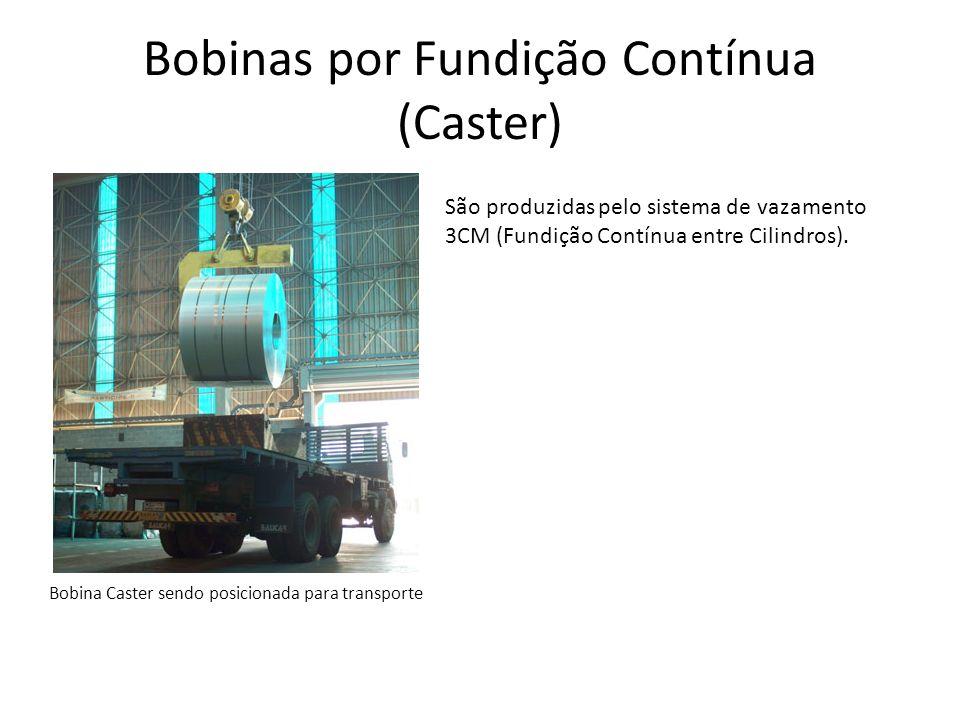 Bobinas por Fundição Contínua (Caster) Bobina Caster sendo posicionada para transporte São produzidas pelo sistema de vazamento 3CM (Fundição Contínua