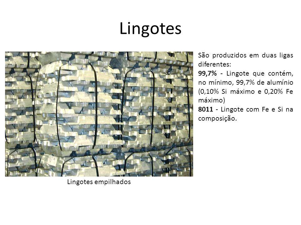 Lingotes São produzidos em duas ligas diferentes: 99,7% - Lingote que contém, no mínimo, 99,7% de alumínio (0,10% Si máximo e 0,20% Fe máximo) 8011 -