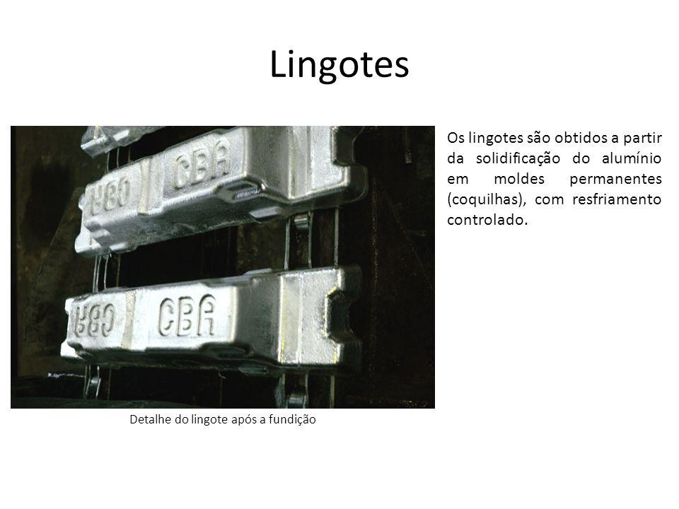 Lingotes Os lingotes são obtidos a partir da solidificação do alumínio em moldes permanentes (coquilhas), com resfriamento controlado. Detalhe do ling