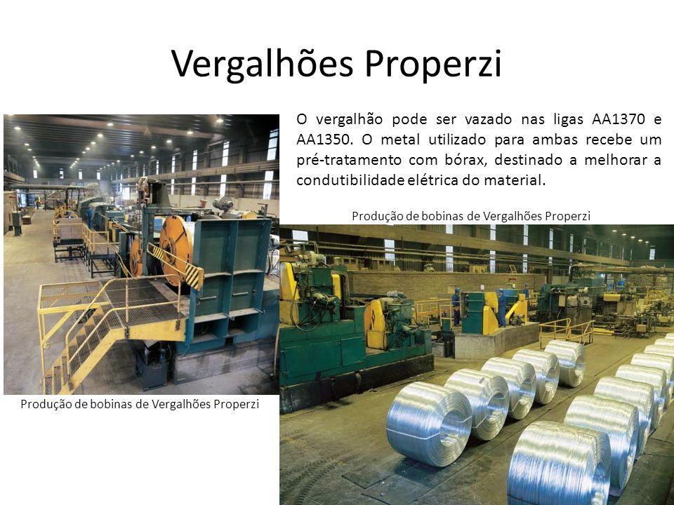 Vergalhões Properzi O vergalhão pode ser vazado nas ligas AA1370 e AA1350. O metal utilizado para ambas recebe um pré-tratamento com bórax, destinado