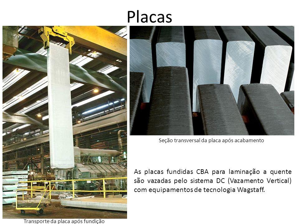Placas Transporte da placa após fundição As placas fundidas CBA para laminação a quente são vazadas pelo sistema DC (Vazamento Vertical) com equipamen