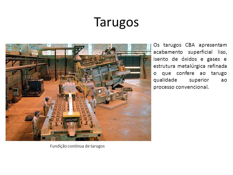 Tarugos Os tarugos CBA apresentam acabamento superficial liso, isento de óxidos e gases e estrutura metalúrgica refinada o que confere ao tarugo quali