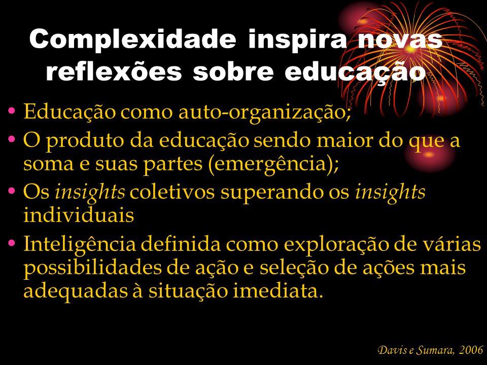 Complexidade inspira novas reflexões sobre educação Educação como auto-organização; O produto da educação sendo maior do que a soma e suas partes (eme