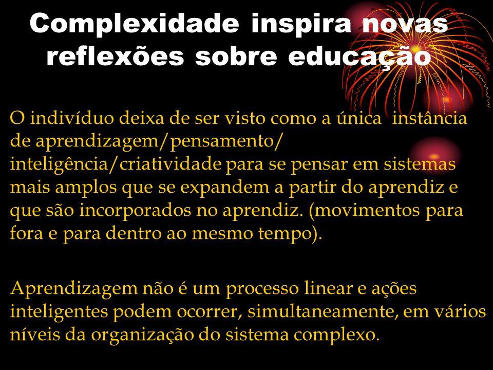 Complexidade inspira novas reflexões sobre educação O indivíduo deixa de ser visto como a única instância de aprendizagem/pensamento/ inteligência/cri