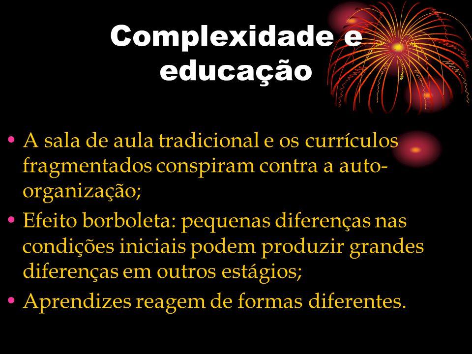 Complexidade e educação A sala de aula tradicional e os currículos fragmentados conspiram contra a auto- organização; Efeito borboleta: pequenas difer