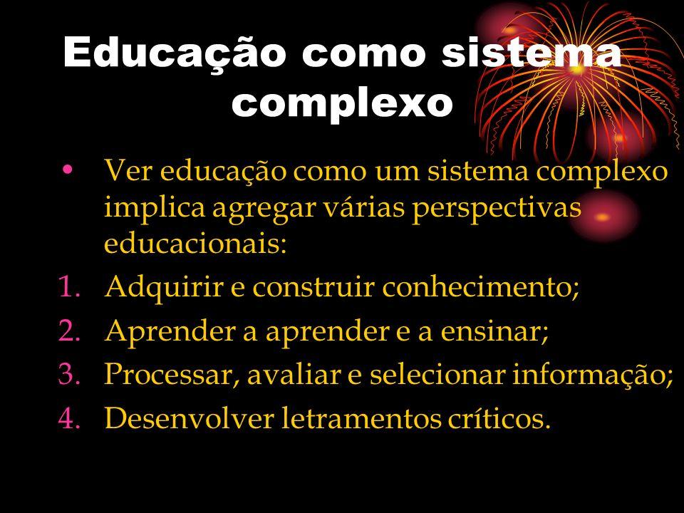 Educação como sistema complexo Ver educação como um sistema complexo implica agregar várias perspectivas educacionais: 1.Adquirir e construir conhecim