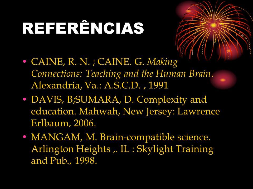 REFERÊNCIAS CAINE, R. N. ; CAINE. G. Making Connections: Teaching and the Human Brain. Alexandria, Va.: A.S.C.D., 1991 DAVIS, B;SUMARA, D. Complexity