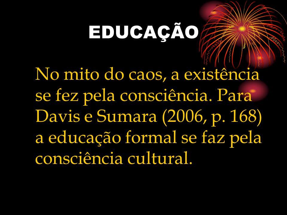 EDUCAÇÃO No mito do caos, a existência se fez pela consciência. Para Davis e Sumara (2006, p. 168) a educação formal se faz pela consciência cultural.