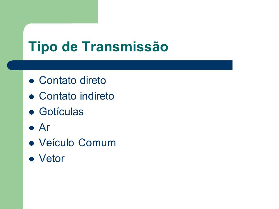 Tipo de Transmissão Contato direto Contato indireto Gotículas Ar Veículo Comum Vetor