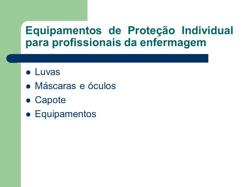 Equipamentos de Proteção Individual para profissionais da enfermagem Luvas Máscaras e óculos Capote Equipamentos