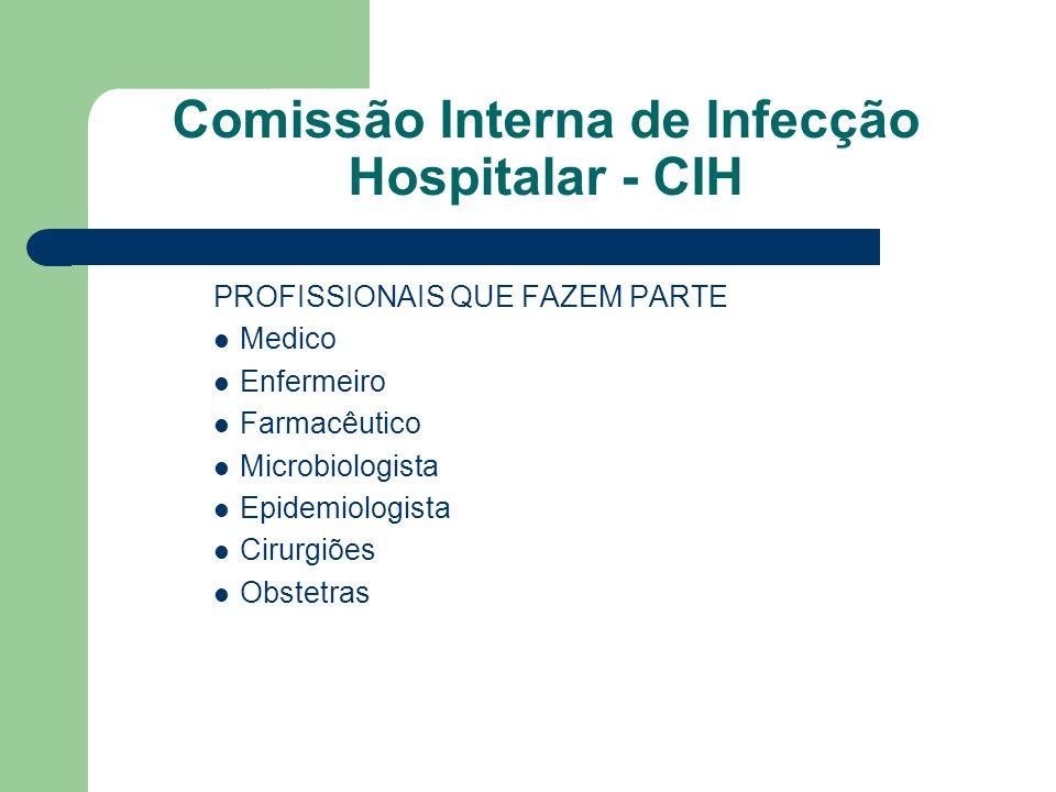 Comissão Interna de Infecção Hospitalar - CIH PROFISSIONAIS QUE FAZEM PARTE Medico Enfermeiro Farmacêutico Microbiologista Epidemiologista Cirurgiões