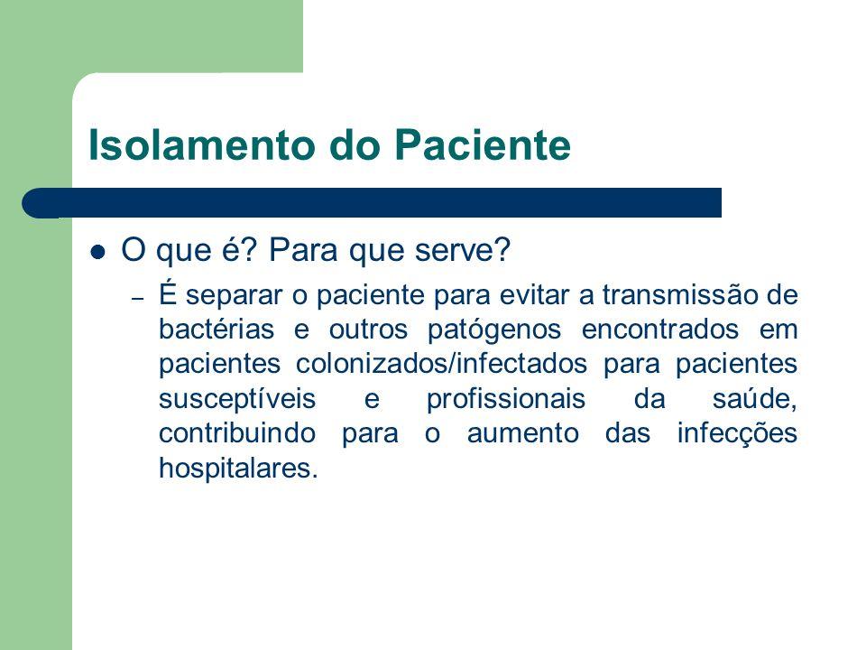 Isolamento do Paciente O que é? Para que serve? – É separar o paciente para evitar a transmissão de bactérias e outros patógenos encontrados em pacien