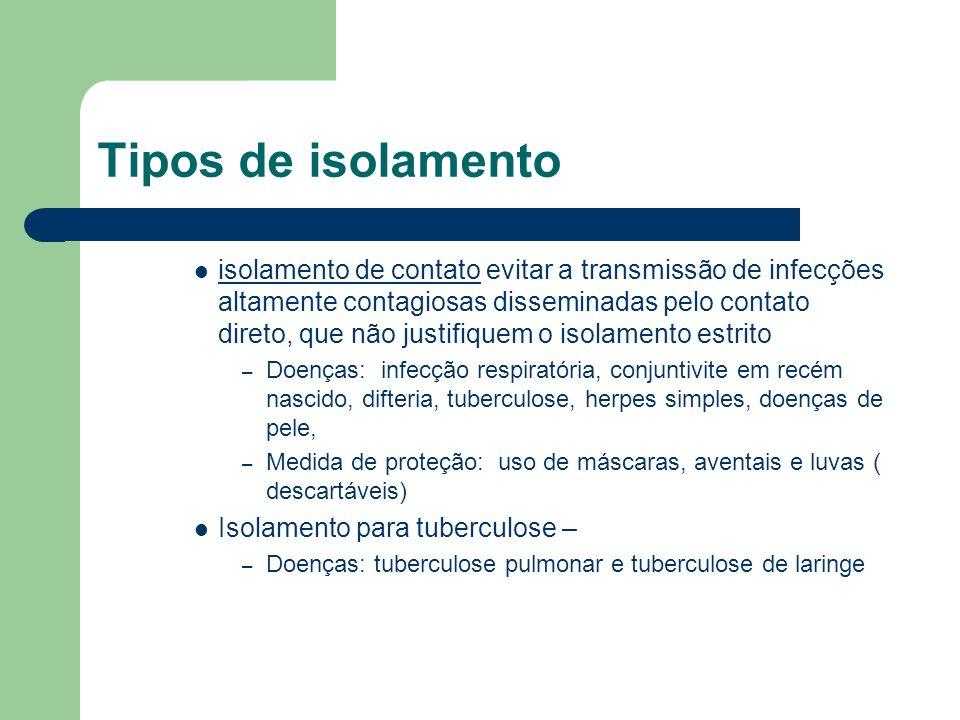 Tipos de isolamento isolamento de contato evitar a transmissão de infecções altamente contagiosas disseminadas pelo contato direto, que não justifique