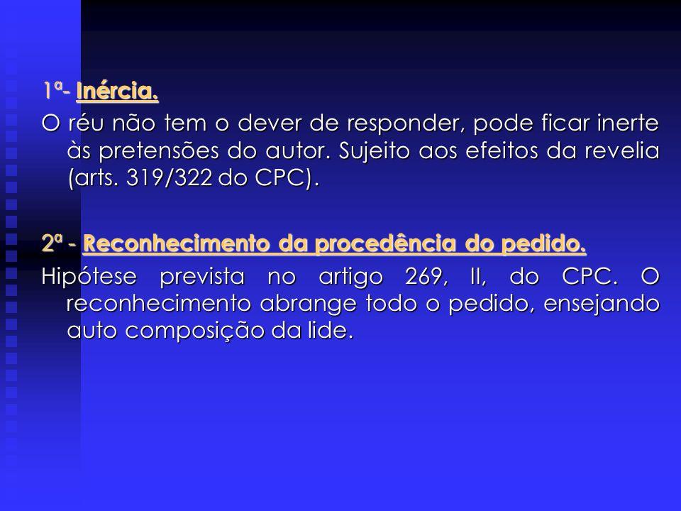DEFESA DO RÉU Arts. 297 e ss do CPC A defesa do réu ao pedido do autor não se resume, tão somente, na negativa do direito do requerente, podendo optar