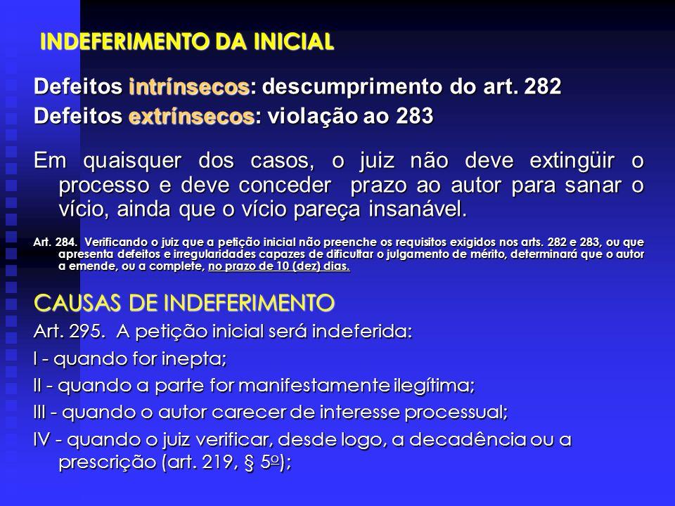 INDEFERIMENTO DA INICIAL INDEFERIMENTO DA INICIAL Defeitos intrínsecos: descumprimento do art.