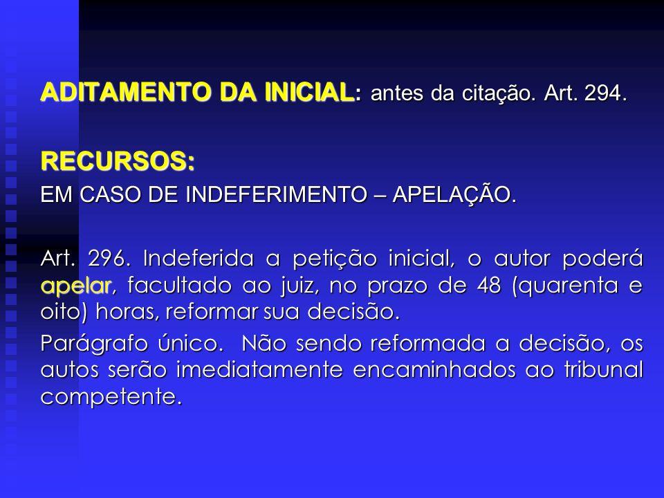 ADITAMENTO DA INICIAL : antes da citação.Art. 294.