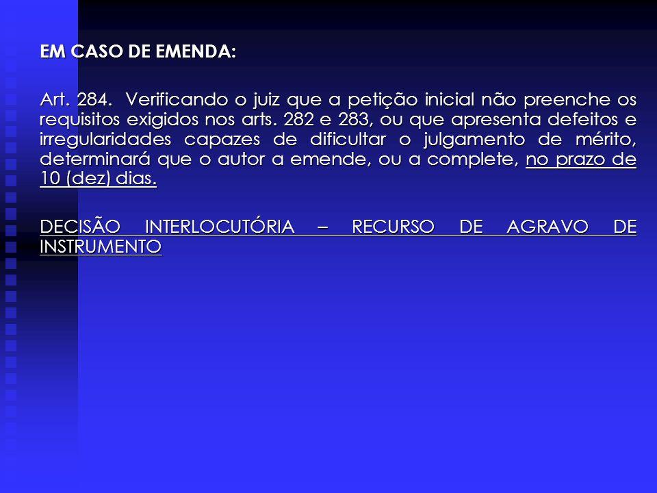 EM CASO DE EMENDA: Art.284.