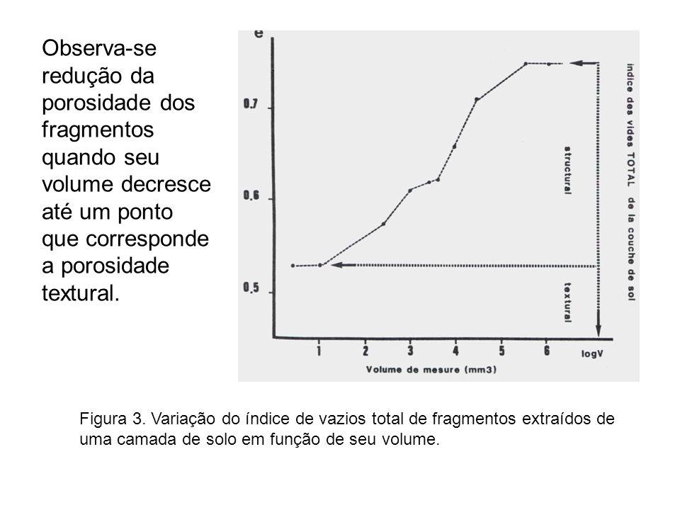 Figura 3. Variação do índice de vazios total de fragmentos extraídos de uma camada de solo em função de seu volume. Observa-se redução da porosidade d