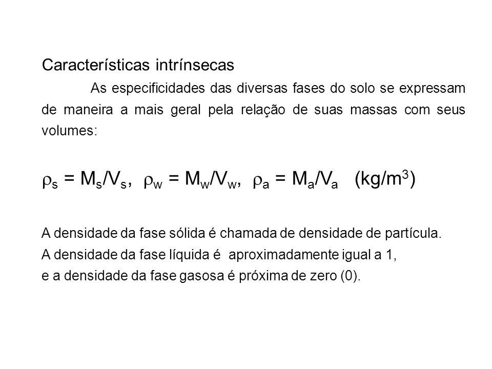 Características intrínsecas As especificidades das diversas fases do solo se expressam de maneira a mais geral pela relação de suas massas com seus vo