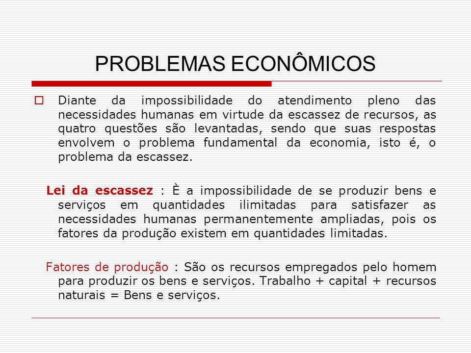 PROBLEMAS ECONÔMICOS Diante da impossibilidade do atendimento pleno das necessidades humanas em virtude da escassez de recursos, as quatro questões sã