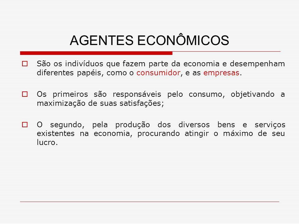 AGENTES ECONÔMICOS São os indivíduos que fazem parte da economia e desempenham diferentes papéis, como o consumidor, e as empresas. Os primeiros são r