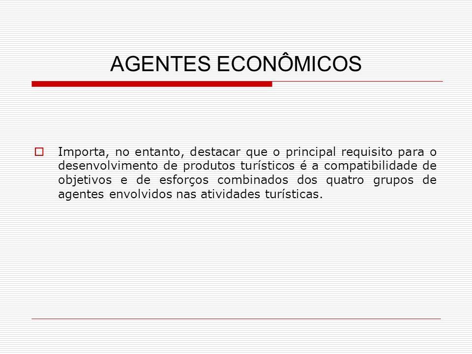 AGENTES ECONÔMICOS Importa, no entanto, destacar que o principal requisito para o desenvolvimento de produtos turísticos é a compatibilidade de objeti