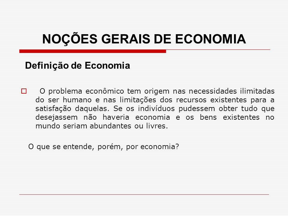 NOÇÕES GERAIS DE ECONOMIA Definição de Economia O problema econômico tem origem nas necessidades ilimitadas do ser humano e nas limitações dos recurso