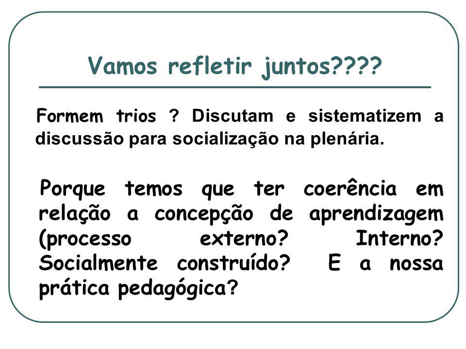 Vamos refletir juntos???? Porque temos que ter coerência em relação a concepção de aprendizagem (processo externo? Interno? Socialmente construído? E