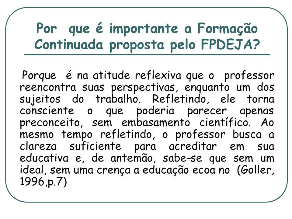 Por que é importante a Formação Continuada proposta pelo FPDEJA? Porque é na atitude reflexiva que o professor reencontra suas perspectivas, enquanto