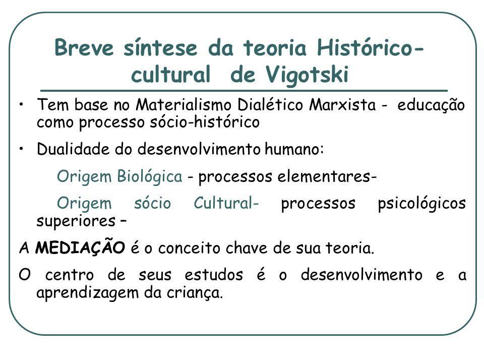 Breve síntese da teoria Histórico- cultural de Vigotski Tem base no Materialismo Dialético Marxista - educação como processo sócio-histórico Dualidade