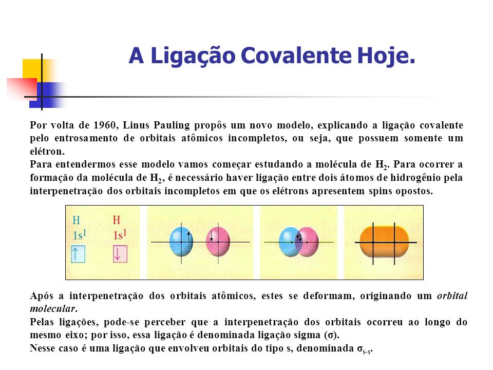 A Ligação Covalente Hoje. Por volta de 1960, Linus Pauling propôs um novo modelo, explicando a ligação covalente pelo entrosamento de orbitais atômico