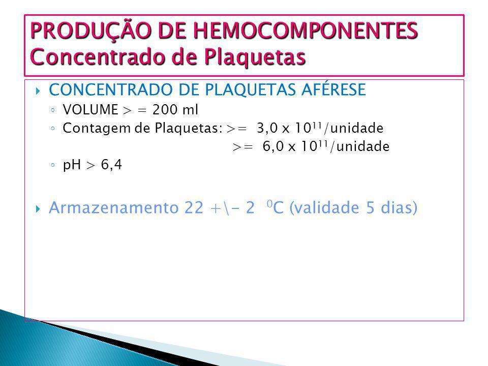 CONCENTRADO DE PLAQUETAS AFÉRESE VOLUME > = 200 ml Contagem de Plaquetas: >= 3,0 x 10 11 /unidade >= 6,0 x 10 11 /unidade pH > 6,4 Armazenamento 22 +\