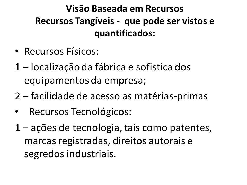 Visão Baseada em Recursos Recursos Tangíveis - que pode ser vistos e quantificados: Recursos Físicos: 1 – localização da fábrica e sofistica dos equip