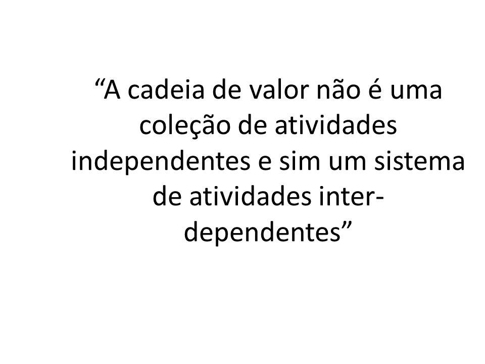 A cadeia de valor não é uma coleção de atividades independentes e sim um sistema de atividades inter- dependentes
