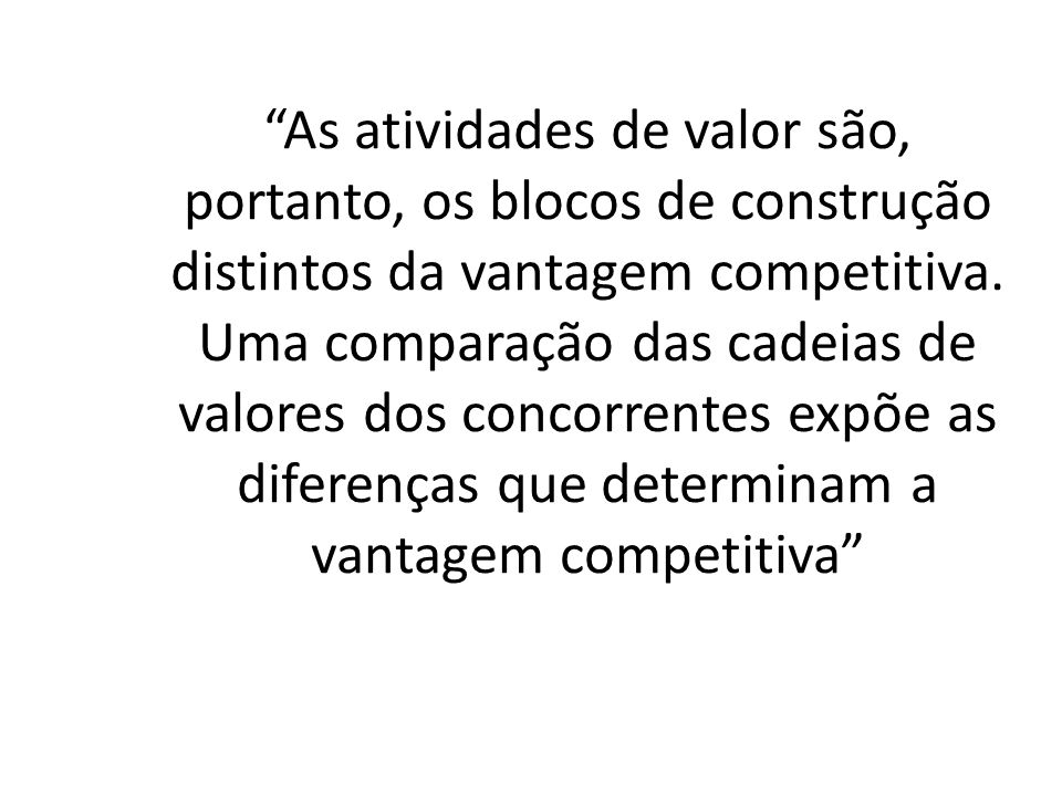 As atividades de valor são, portanto, os blocos de construção distintos da vantagem competitiva. Uma comparação das cadeias de valores dos concorrente