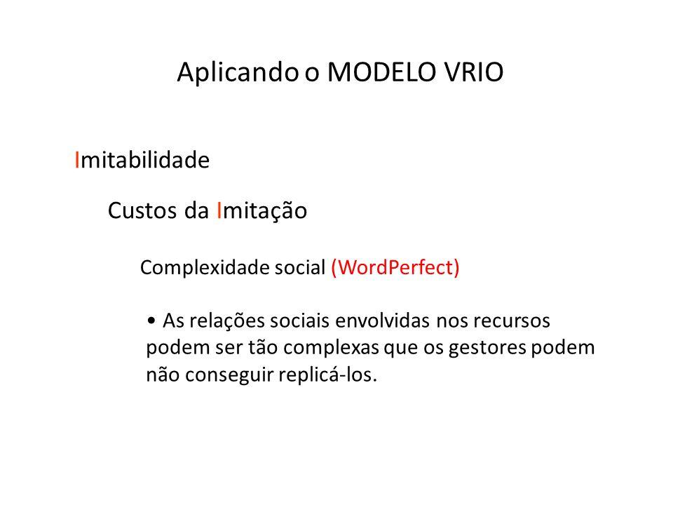 Complexidade social (WordPerfect) As relações sociais envolvidas nos recursos podem ser tão complexas que os gestores podem não conseguir replicá-los.