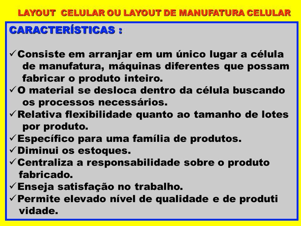 CARACTERÍSTICAS : Consiste em arranjar em um único lugar a célula de manufatura, máquinas diferentes que possam fabricar o produto inteiro. O material