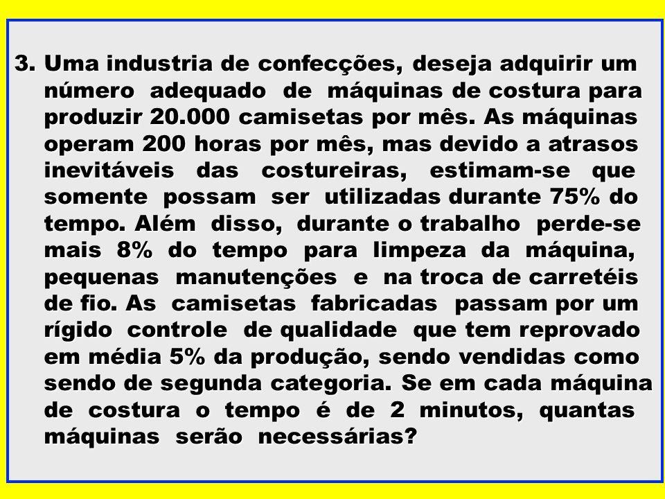 3. Uma industria de confecções, deseja adquirir um número adequado de máquinas de costura para número adequado de máquinas de costura para produzir 20