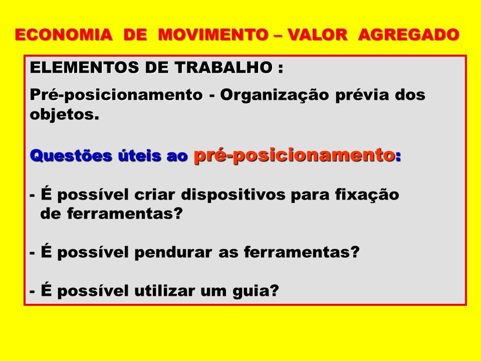 ELEMENTOS DE TRABALHO ELEMENTOS DE TRABALHO : Pré-posicionamento Pré-posicionamento - Organização prévia dos objetos. Questões úteis ao pré-posicionam