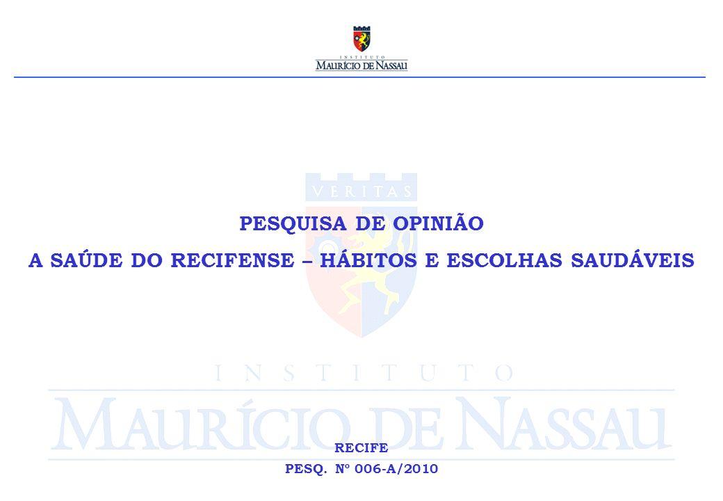 PESQUISA DE OPINIÃO A SAÚDE DO RECIFENSE – HÁBITOS E ESCOLHAS SAUDÁVEIS RECIFE PESQ. Nº 006-A/2010