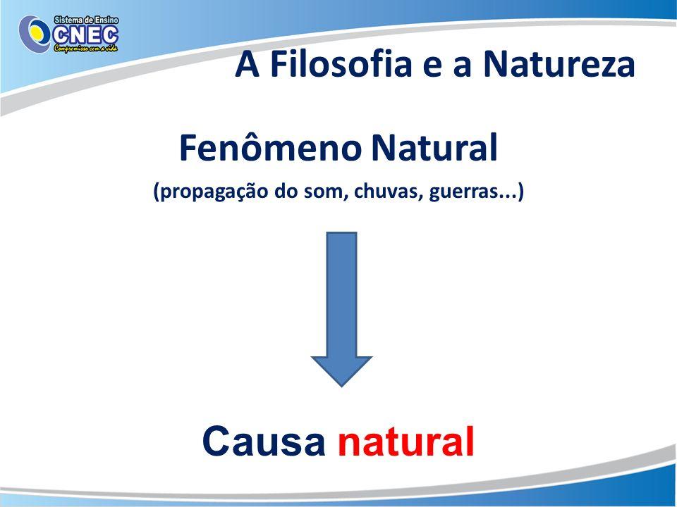 A Filosofia e a Natureza Fenômeno Natural (propagação do som, chuvas, guerras...) Causa natural