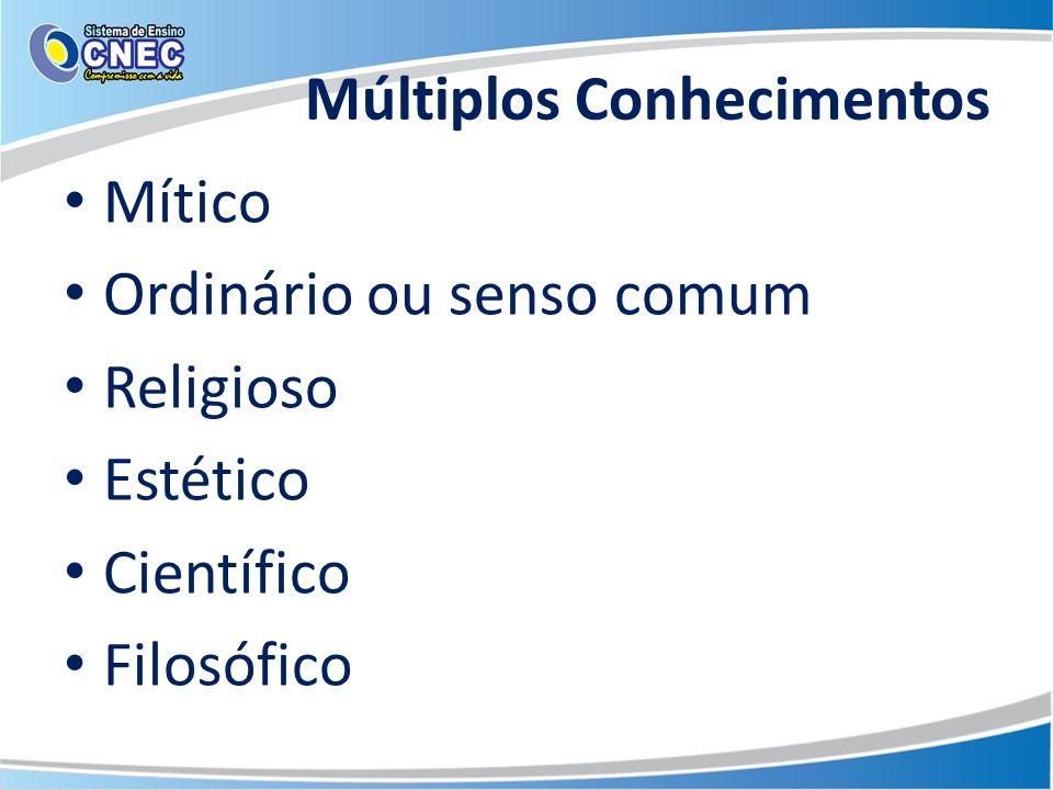 Múltiplos Conhecimentos Mítico Ordinário ou senso comum Religioso Estético Científico Filosófico