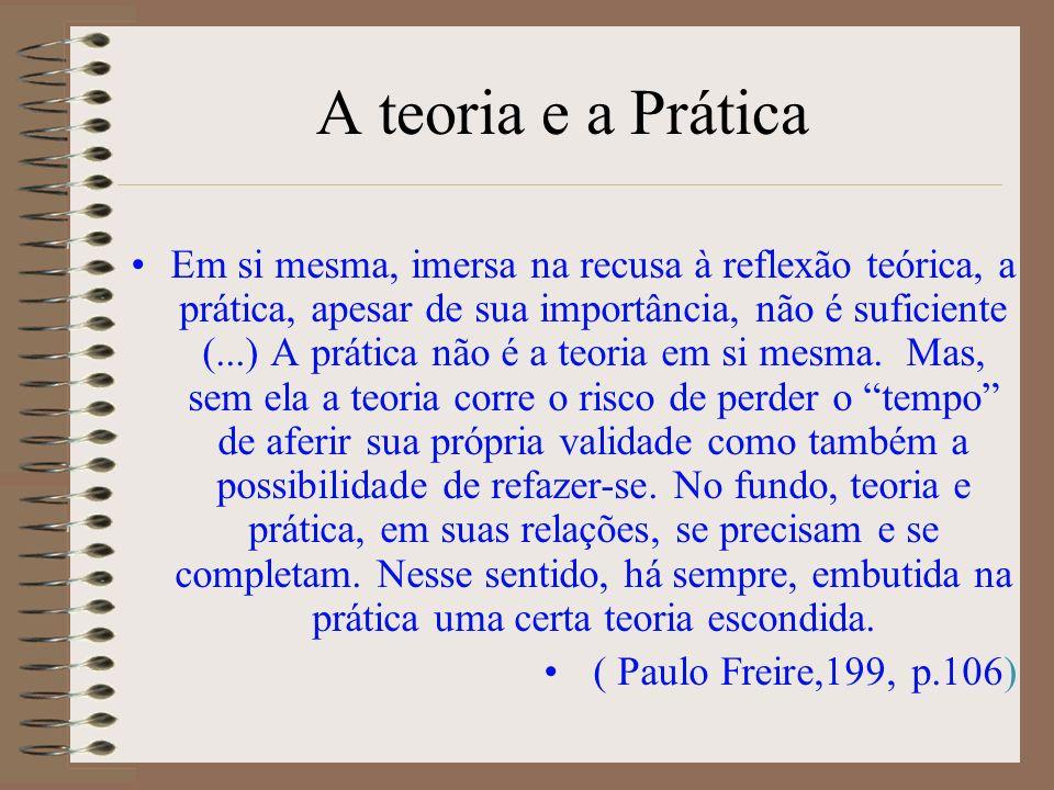 A teoria e a Prática Em si mesma, imersa na recusa à reflexão teórica, a prática, apesar de sua importância, não é suficiente (...) A prática não é a