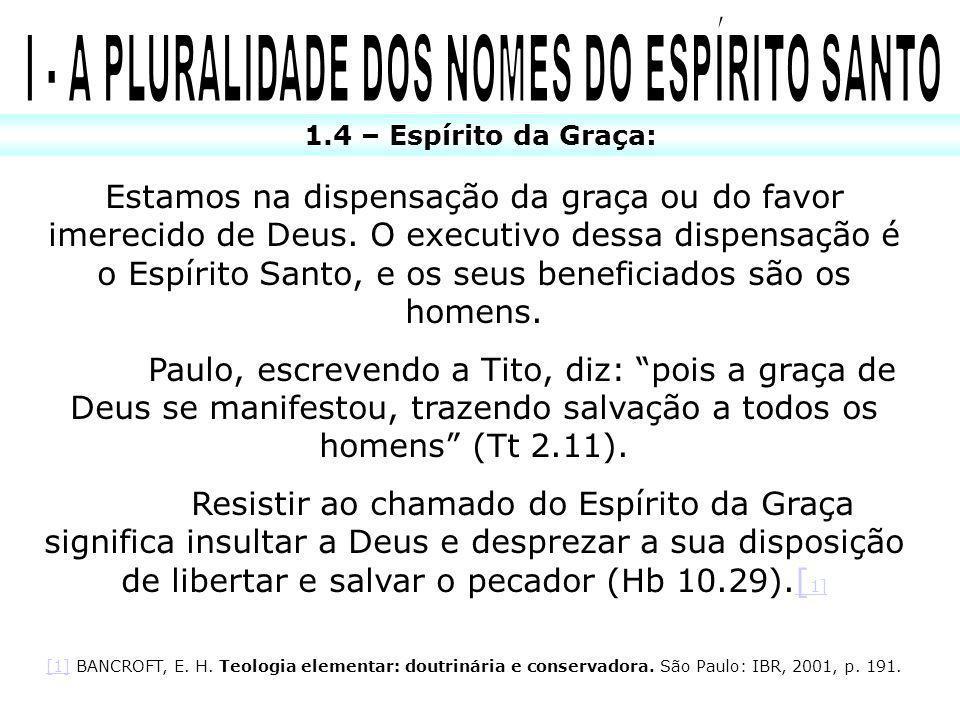 Estamos na dispensação da graça ou do favor imerecido de Deus. O executivo dessa dispensação é o Espírito Santo, e os seus beneficiados são os homens.